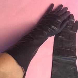 Vintage navy blue leather long gloves